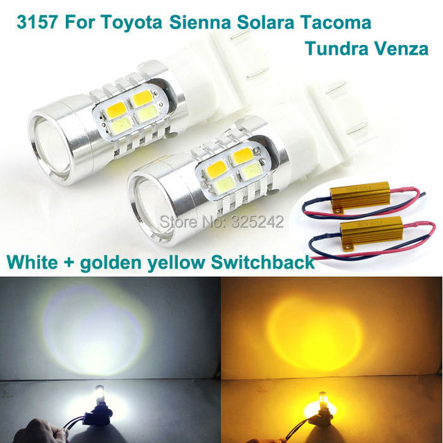 For Toyota Sienna Solara Tacoma Tundra Venza Excellent 3157 Dual Color Switchback Led Drl Parking Front Turn Signal Light
