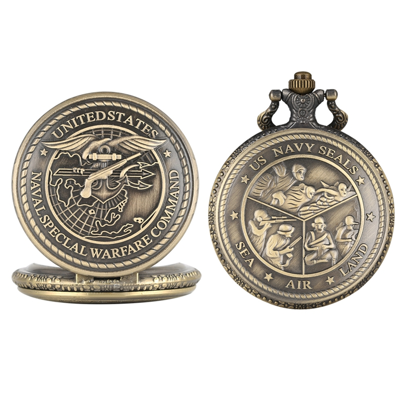 United States Navy Special Warfare Command Quartz Pocket Watch Retro US Navy Seals Necklace Pendant Chain FOB Watch Clocks Gifts