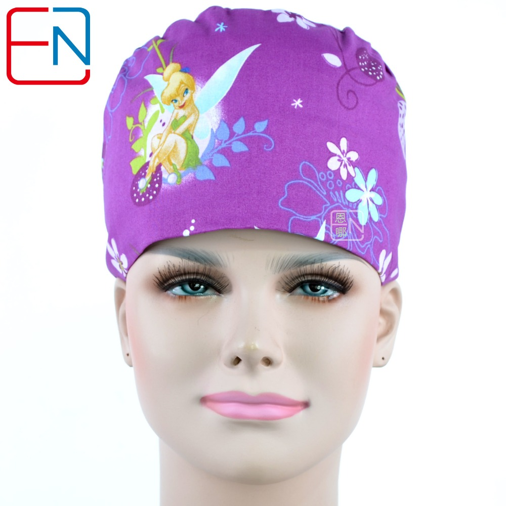 NEW  Long Hair Medical Caps 100% Cotton With Sweatband