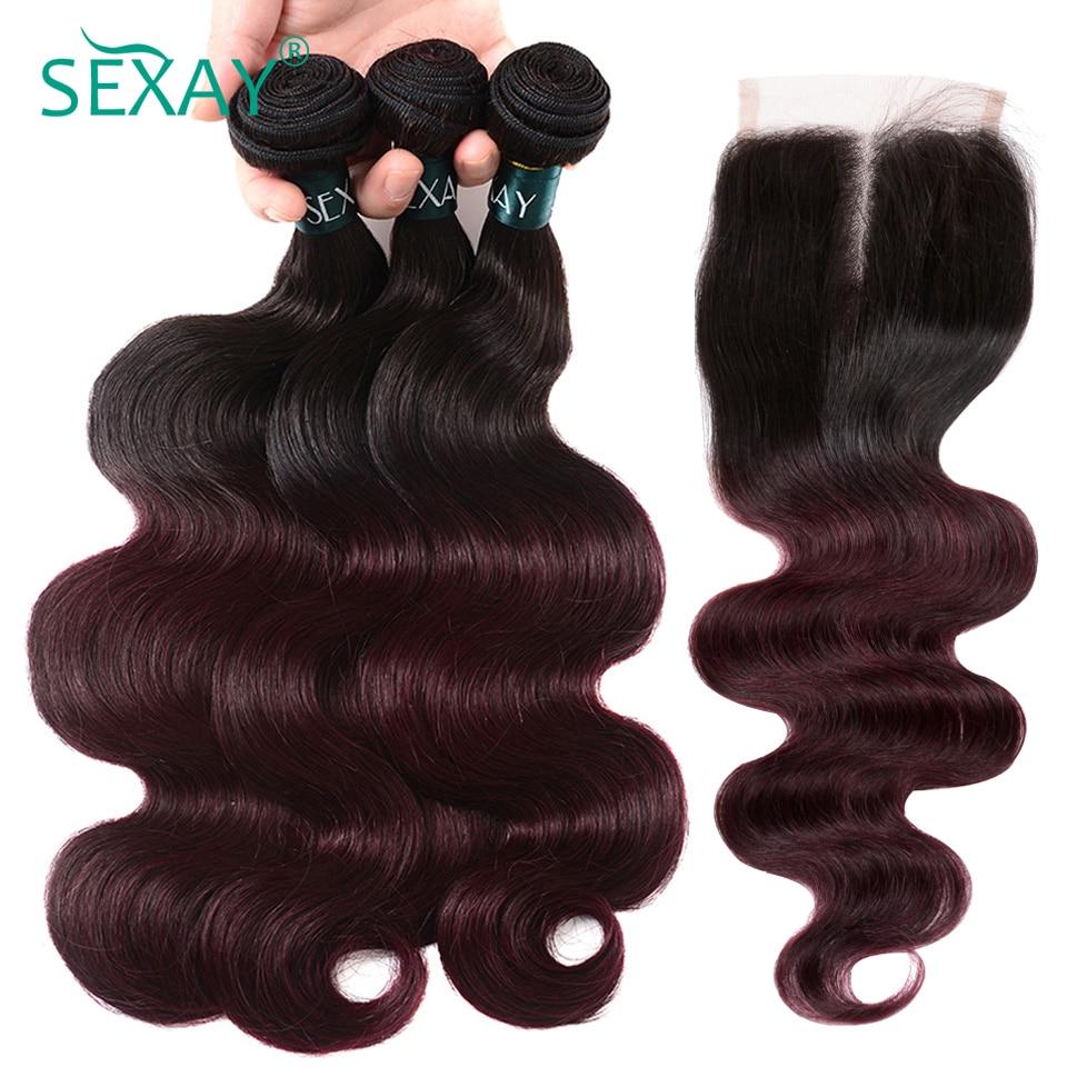 Body Wave Burgundy Bundles With Closure 4pcs 1b/99j Burgundy Brazilian Hair Weave Ombre Human Hair Bundles With Closure Non Remy
