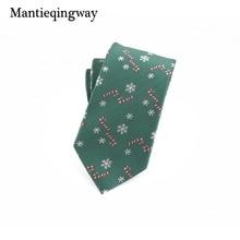 Mantieqingway Polyester Christmas Neck Ties for Mens Snowflake Gravatas Slim Vestidos Necktie Business Wedding