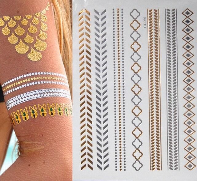 Flash Temporary Tattoos Sleeve Glitter Tatoo Flash Gold Metallic Henna Fake Tattoo Arabic Golds Tattoo Body Art
