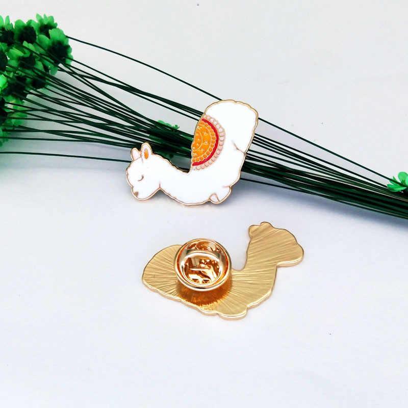 Suki 1 PC Llama Pin Lama Glama Alpaka Cute Kawaii Hewan Pin Keras Enamel Kerah Pin Bros untuk Wanita Gadis lencana