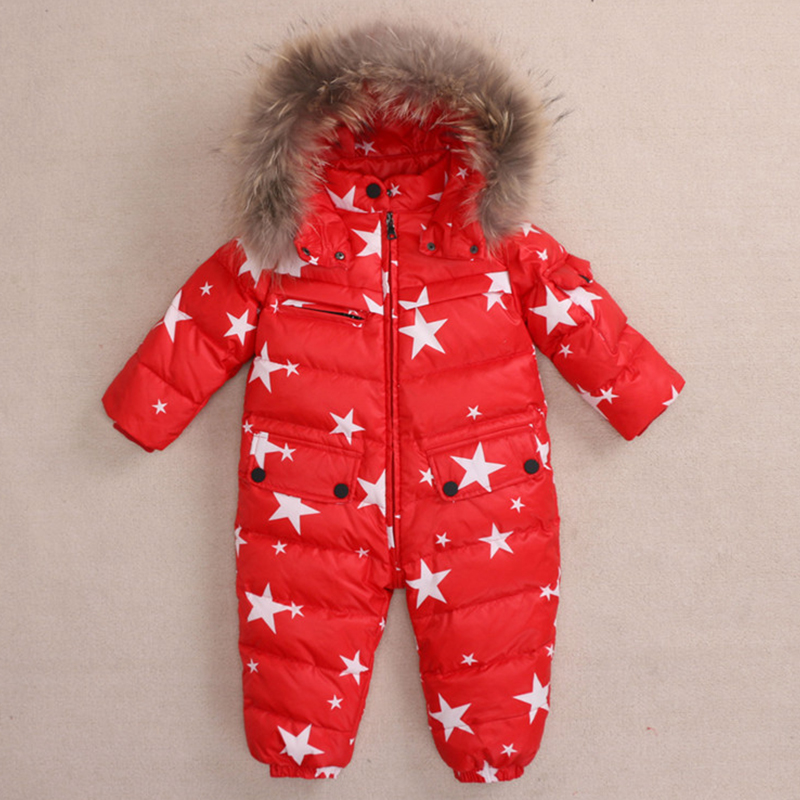 winter White Duck Down Rompers natural fur baby boy clothes newborn down jumpsuit infant thick warm outerwear girls snowsuits 2 5 years russian winter baby white duck down rompers with real fur hood outdoor skit snowsuit girls clothing infant boy romper