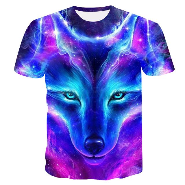2019 New Summer Brand 3D Wolf head T-shirt man round collar short sleeve T-shirt men fashion t shirt short sleeves dropshipping 1
