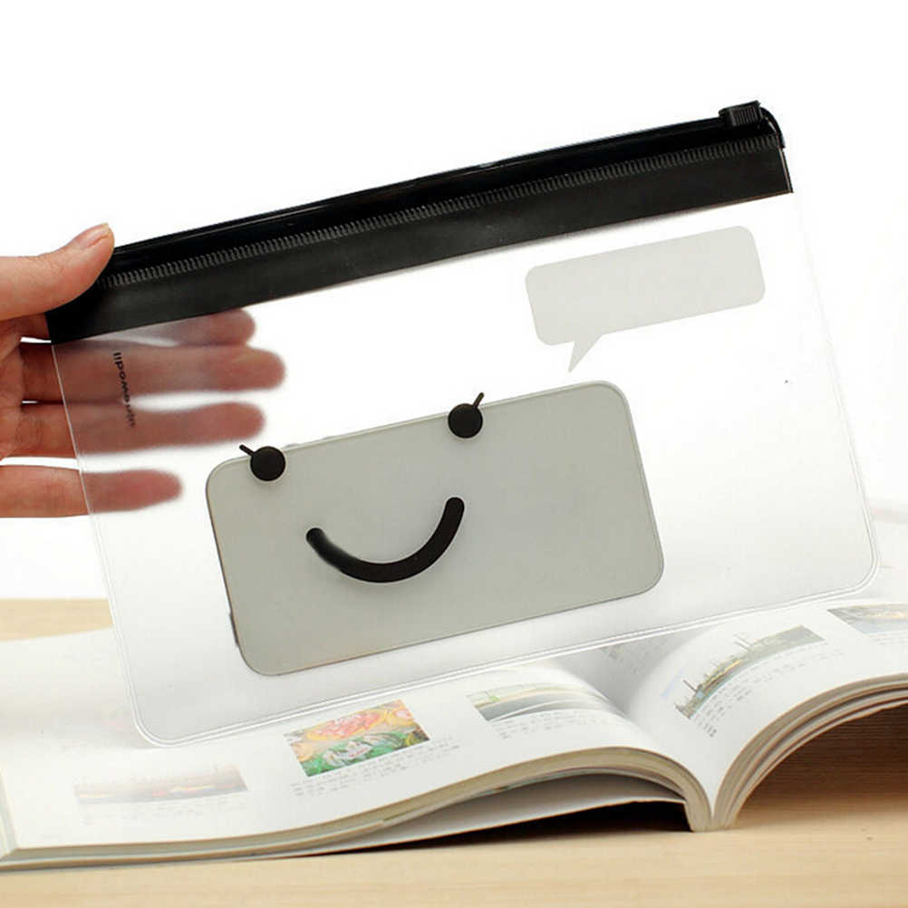 1X かわいいかわいいクリア絵文字スマイル印刷ペンバッグケースホルダー収納ペンケースの学用品化粧品化粧ポーチ文房具の袋