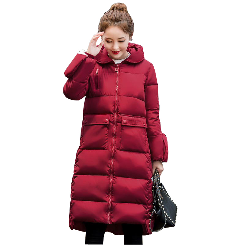 ФОТО high quality winter jacket women thick warm snow wear long hooded women's down cotton coat with golve plus size outerwear kp0907