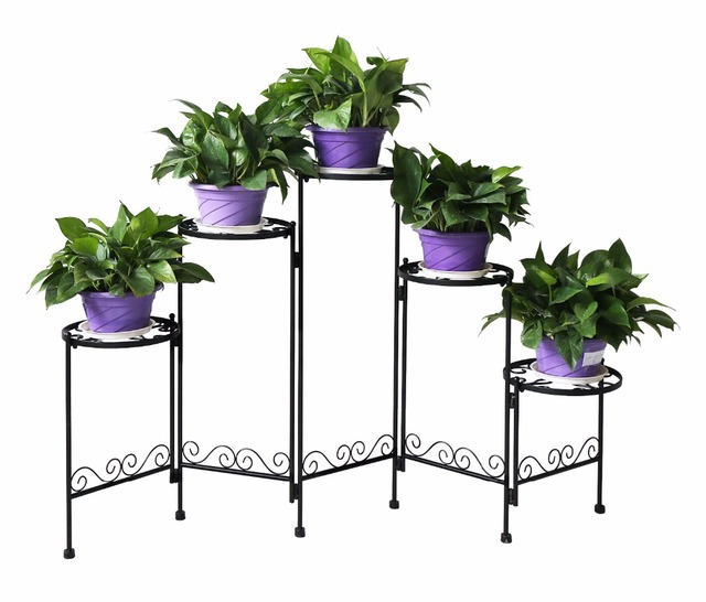 Hlc 5 Tier Folding Plant Stand Screen Decorative Metal Plant Stand