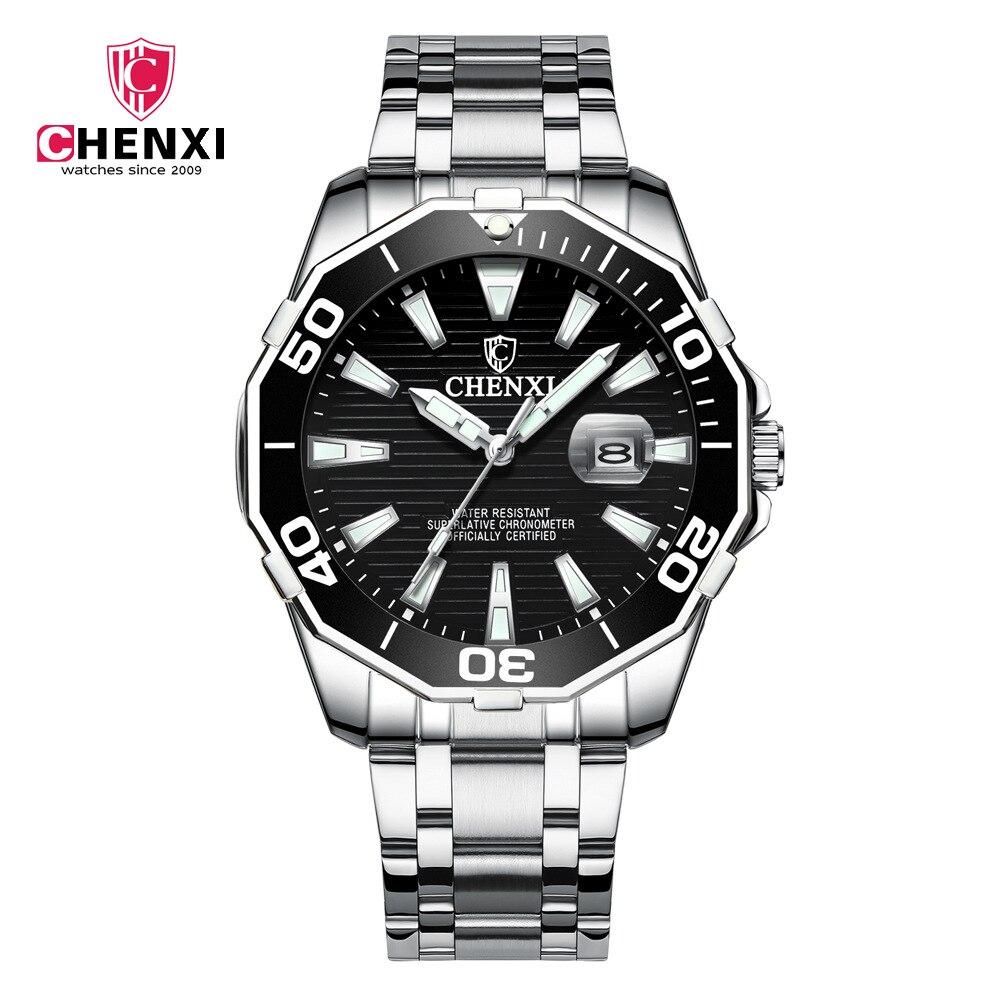 Luxury CHENXI Business Men Watch Silver Stainless Steel Black Casual Watch for Men Big Dial Waterproof Fashion Dress Wristwatch цена и фото