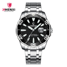 цена Luxury CHENXI Business Men Watch Silver Stainless Steel Black Casual Watch for Men Big Dial Waterproof Fashion Dress Wristwatch онлайн в 2017 году