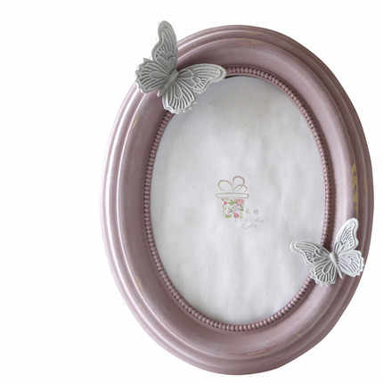 8inch Butterfly Oval Resin Photo Frame Bow Creative Wedding Wall Photo Frame Elliptical Shape Picture Frame Wedding Korean Cute