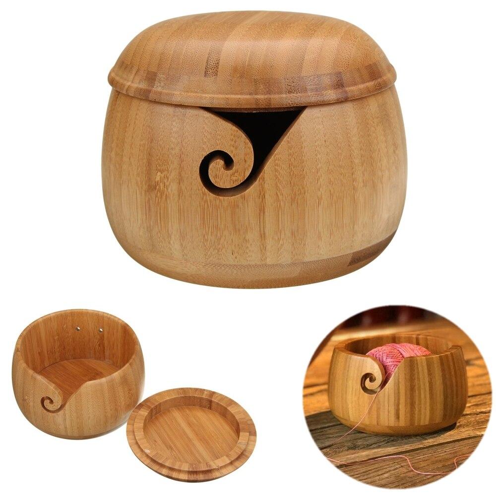 Yarn Storage Bowl With Cover Bamboo Yarn Balls Organizer For Knitting Crocheting