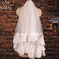 White/Ivory 1.5 Meters 2t Short Lace Edge Wedding Veils Bridal Veils With Comb In Stock High Quality Cheap Wedding Veils WB71