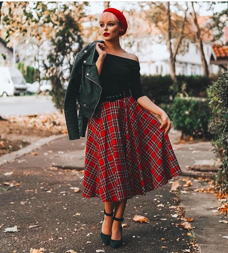 0c8d21a760a 30- women vintage 50s rockabilly pinup midi swing skirt in red tartan plus  size skirts