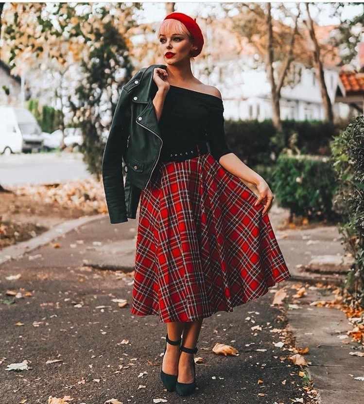 412af961450 30- women vintage 50s rockabilly pinup midi swing skirt in red tartan plus  size skirts