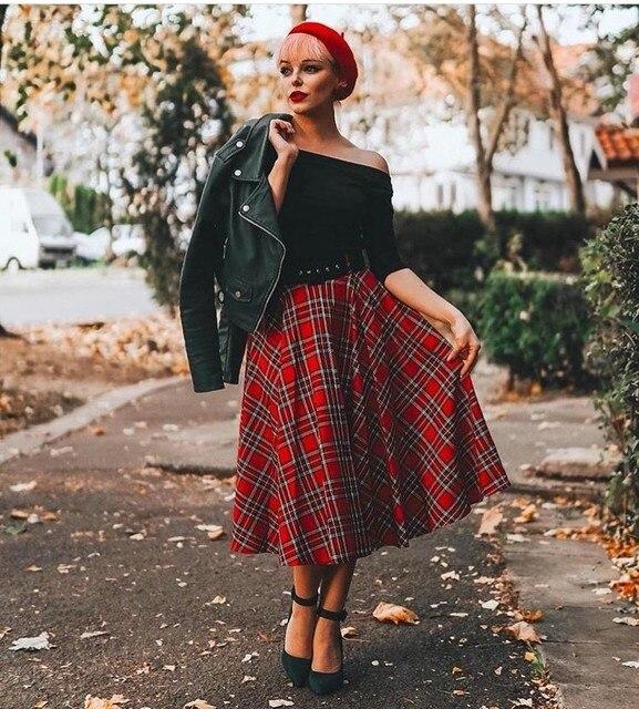 8e906c91e 30- women vintage 50s rockabilly pinup midi swing skirt in red tartan plus  size skirts faldas jupe pinup rockabilly skirts