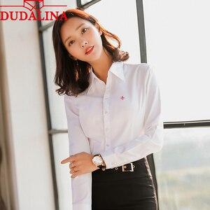 Blusa femenina Dudalina 2020, Camisa larga de Manga larga bordada, Top Formal, Camisa elegante para mujer