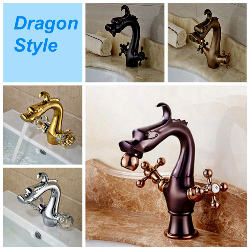 все цены на Solid Brass Bathroom Dragon Faucet Dual Handles Vanity Sink Mixer Tap Deck Mounted hot cold mixer tap