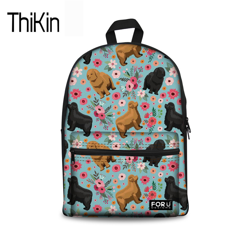 THIKIN Schoolbag For Teenager Girls Newfoundland Flower Cute Dog Printing Female School Book Bag Canvas College Girls Backpack