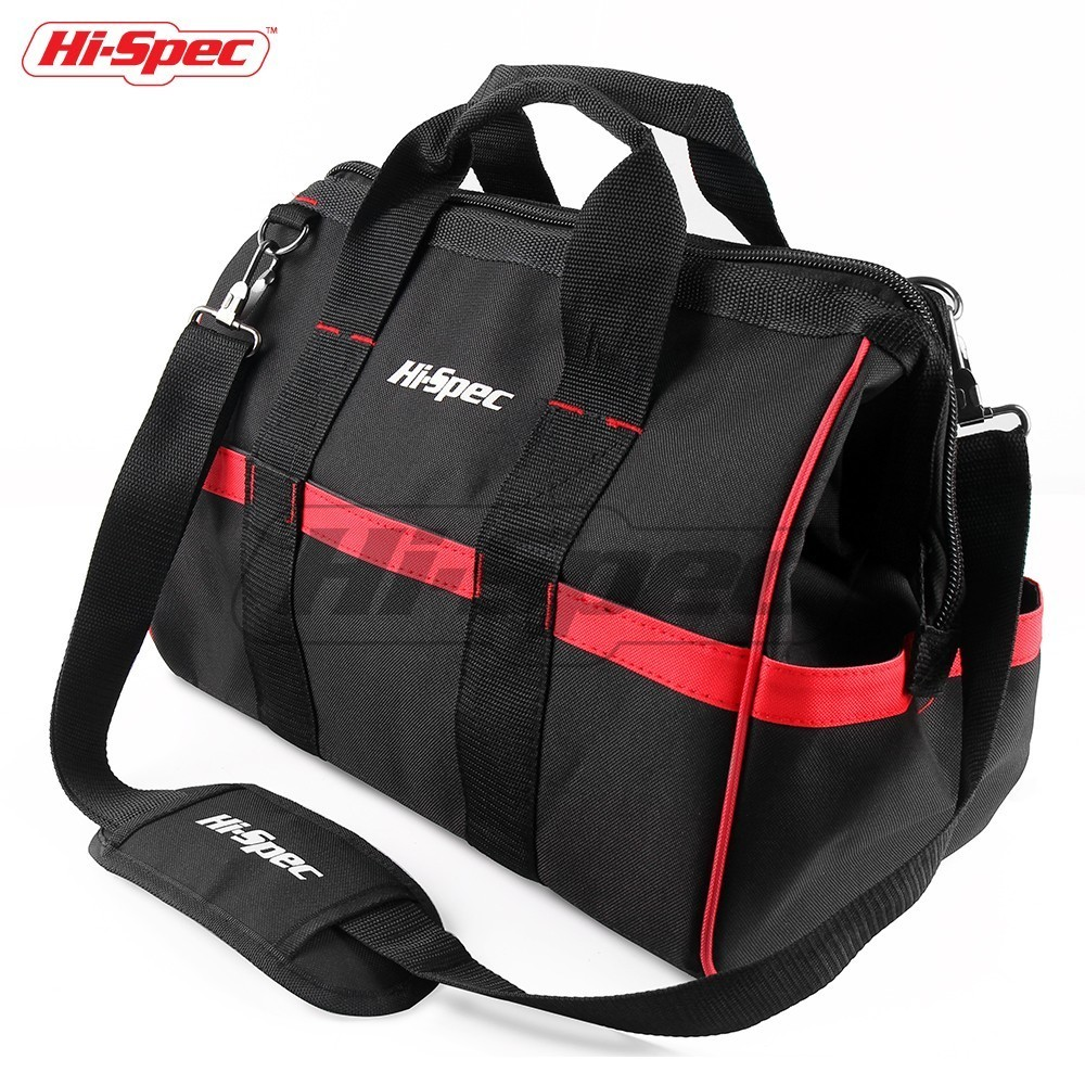 Hi-Spec 16 inch Adjustable Tool Bag Waterproof Travel Bags Large Capacity Tool Bags Wide Mouth Thick Base Strap Storage Bags 121416 tool bags 600d close top wide mouth electrician bags small bags