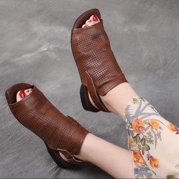 RUSHIMAN Women Sandals Shoes Lady 2019 Genuine Leather Peep Toe Women Sandale Handmade low heel Hook&Loop Casual Female Shoes