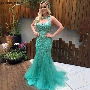 Image 1 - Vestido formatura longo nuovo tulle di cristallo halter turquoise mermaid prom dres di lusso di Tulle Lungo Pageant abito da sera Abiti Del Partito