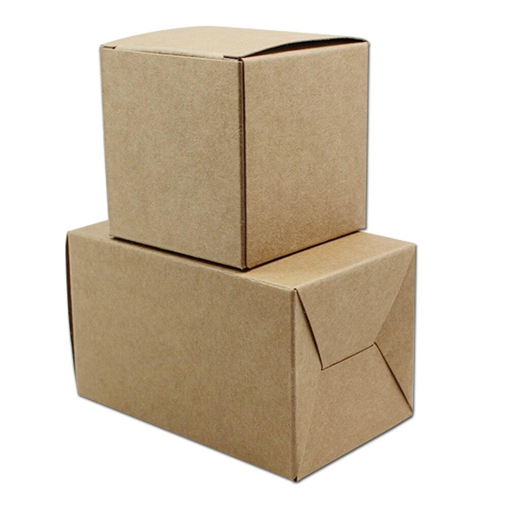 Brown cajas carton 7 7 7cm kraft paper folding small event for Cajas de carton infantiles