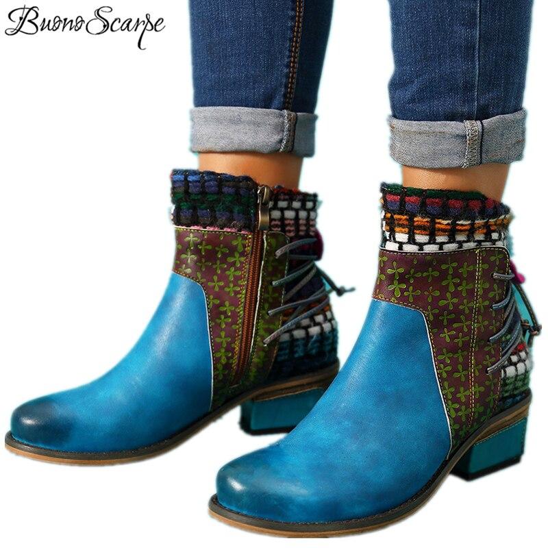 BuonoScarpe kobiety Patchwork etniczne kostki buty oryginalne skórzane frędzle zachodnie buty do szycia gruby obcas buty kowbojskie damskie botki w Buty do kostki od Buty na  Grupa 1