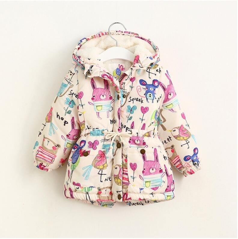 2017 зимняя куртка для девочек и пальто и пуховики детские парки с графити теплая верхняя одежда с капюшоном для маленьких девочек мультфильм животных детская куртка пальто