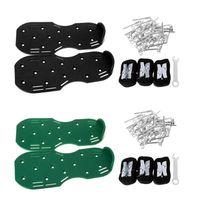 A Pair Lawn Aerator Shoes Sandals Grass Spikes Nail Cultivator Yard Garden Tool Green Black 300mmx130mm