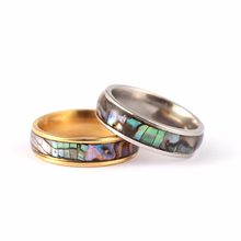 Shellhard Love Couple Promise Ring Statement Wedding Band Ring For Women Men Vintage Abalone Shell Gold Ring Valentine Gift(China)
