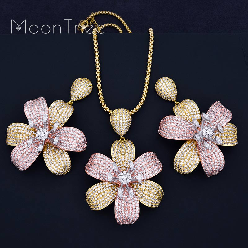 MoonTree Flower Blossom Luxury Women Wedding Naija Bridal Cubic Zirconia Necklace Earring Dubai High Jewelry Set