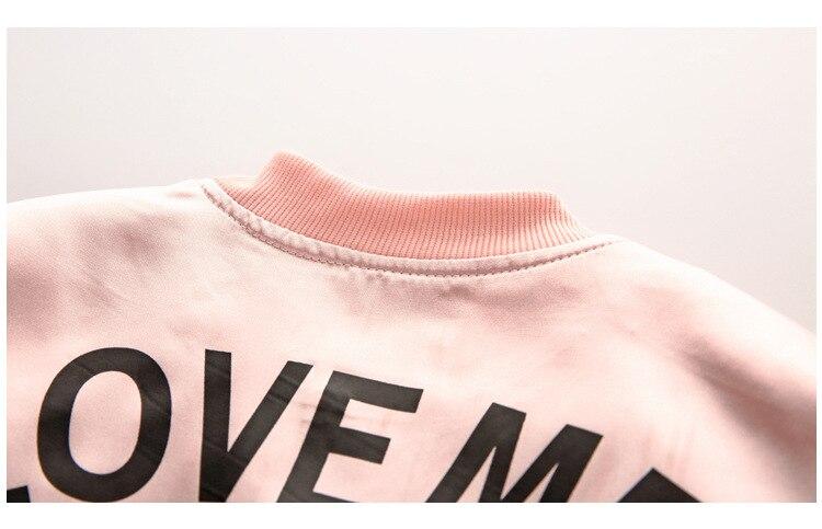 R&Z 2017 Autumn and Winter New Fashion Girl Suit Jacket + Pants 2pcs/set Brand Leisure Letter Love Me Zipper Cardigan Coat Suit