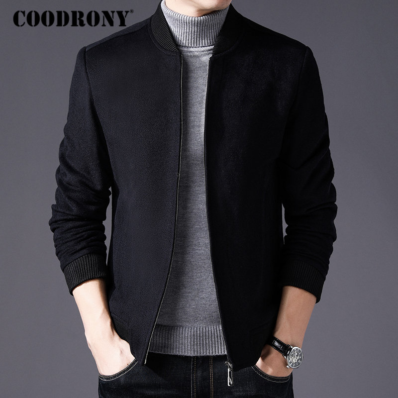 COODRONY Men Coat Winter Thick Warm Wool Coat Men Clothes 2018 Slim Fit Pea Coat Mandarin Collar Jacket Overcoat Mens Coats C004