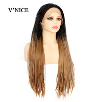 V'NICE Ombre Synthetic Lace Front Braid Wig Heat Resistant 180% Density Braids Wig for Black Women Brazil African American Hair