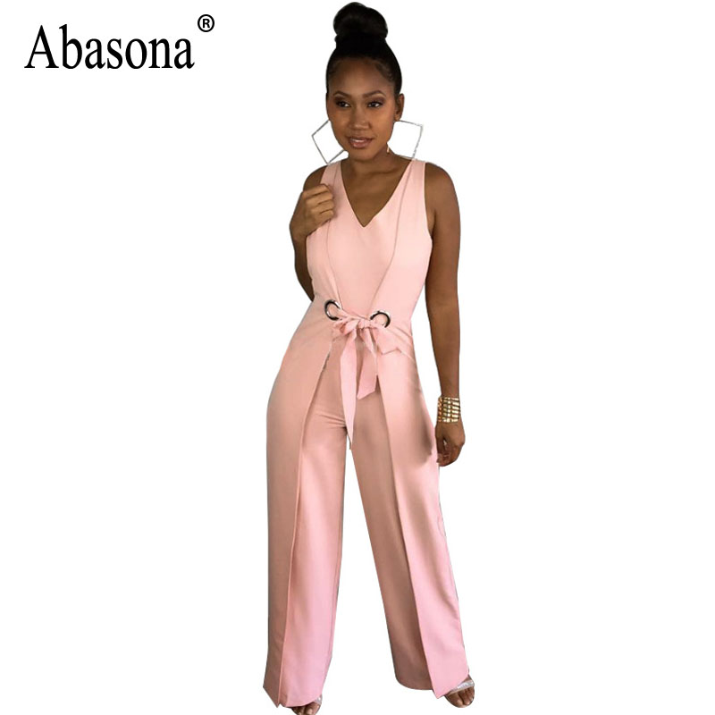 Abasona Wide Leg Pant Jumpsuit Women Rompers Sleeveless Sashes Bow One Piece Women Overalls Elegant Club Party Jumpsuits Summer