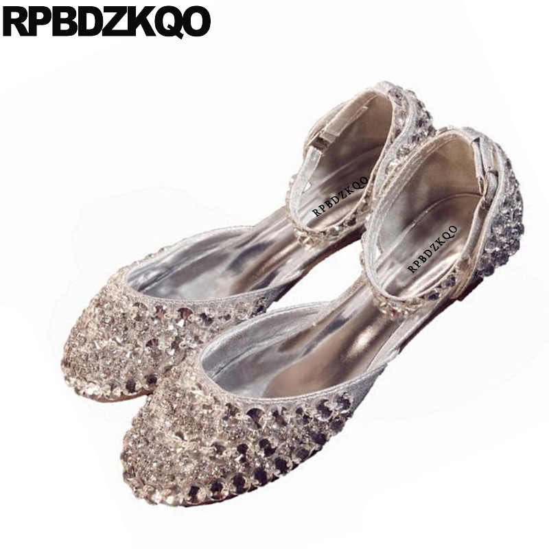 438d70dc3 ... Wedding Women Dress Shoes Round Toe Silver Crystal Sandals Bling  Sparkling Diamond Ankle Strap Rhinestone Lady ...