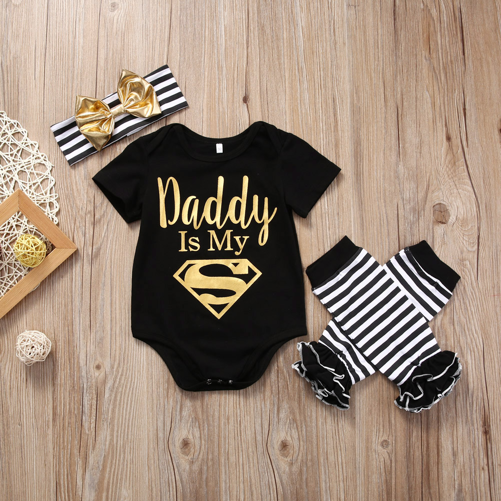 Dad is My Superman Newborn Infant Baby Girls Clothes Short Sleeve Romper Striped Legging Warmer Headwear 3PCS Outfit Clothing 2