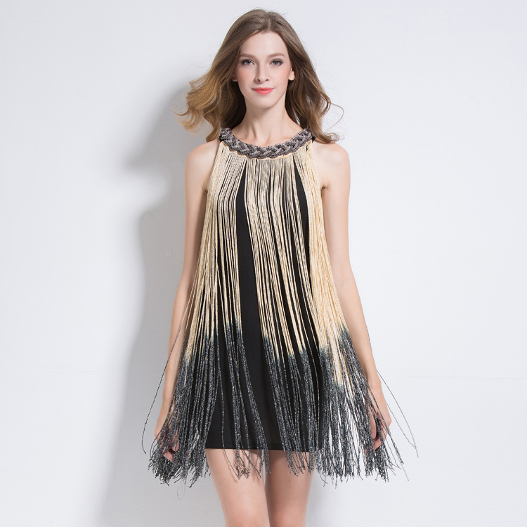 Metallo Red Beige black Club Del Di wine silver Vestid Halter S Nero Vestito Dress Robe 1920 Sexy Fringe Catena Flapper Aderente Ombre Charleston blue Partito Grande Gatsby fCIq44