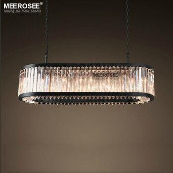 Lustre en cristal de Style américain Suspension en cristal Vintage lampe de Suspension en cristal de Rectangle pour salon salle à manger