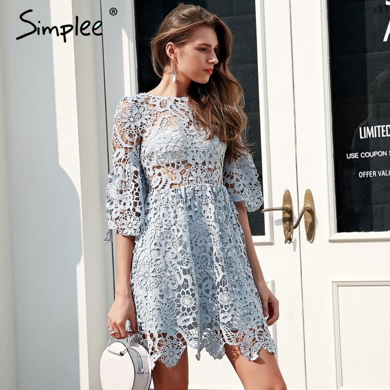 Simplee Hollow out blue lace dress women High waist perspective sexy dress 2018 Flare sleeve pleated short summer dress vestidos Dresses    - AliExpress