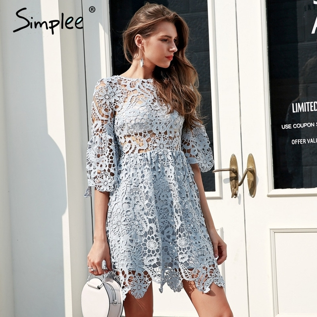 Simplee Hollow out blue lace dress women High waist perspective sexy dress 2018 Flare sleeve pleated short summer dress vestidos