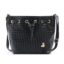 Casual Women Handbag Weave Small Bucket Bag for Girls Summer Messenger Bag PU Leather String Closure Black Wholesale Price