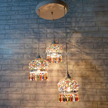 Bohemian Chandeliers Colorfull K9 Crystal Droplight 3 ligfts White Ceiling Lamp Cafe Bar Store Hall Club Coffee Shop Decor(China)