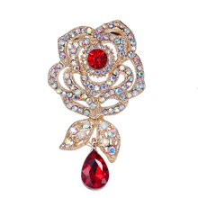 1PC Kristal Merah Waterdrop Pendant Rose Bros Berlian Imitasi Bunga Bros Wanita Pernikahan Bridal Bouquet DIY Pakaian Aksesoris(China)