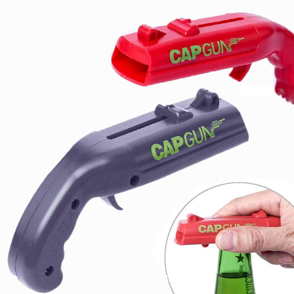 Portable Can Openers Spring Cap Catapult Launcher Gun Shape Bar Tool Drink Opening Shooter Beer Bottle Opener Kitchen Tools