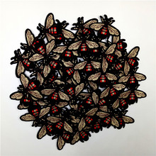 50PCS/LOT mini Bee patch Embroidery iron on patch Decoration Accessories Embroidered patch for clothing for T-shirt 50pairs lot emergency supplies ecg defibrillation electrode patch prompt aed defibrillator trainer accessories not for clinical