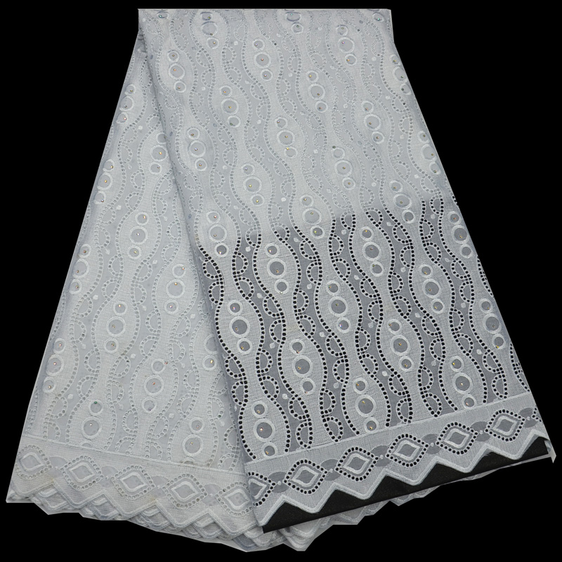 5yards pc high quality African polish cotton lace fabric simple and elegant Swiss lace fabric