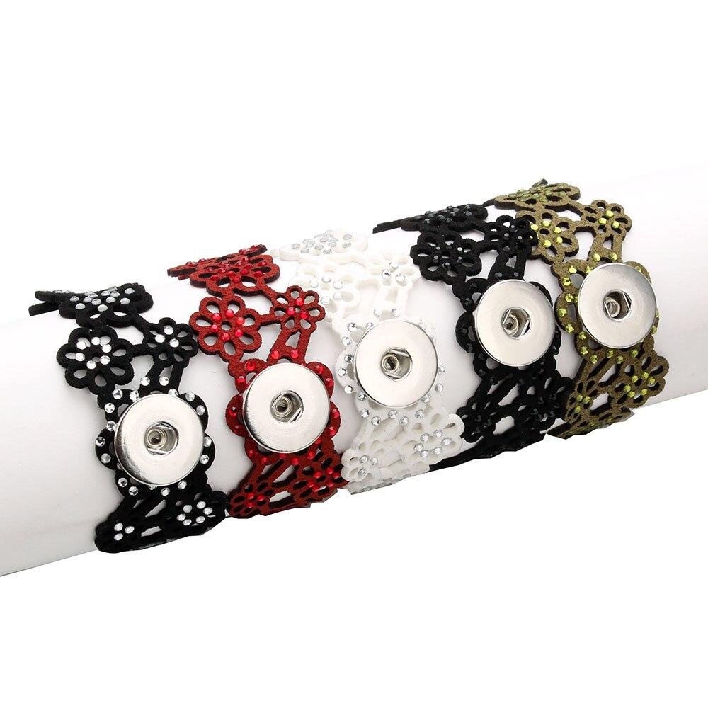 Bohemia 5 Color Hollow PU Leather Bracelet Fit 18mm Snap Button Bracelet For Women Snap Jewelry