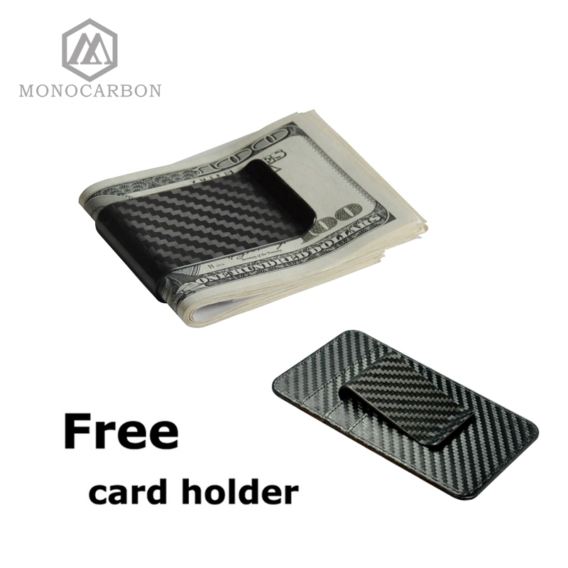 Monocarbon High Class Real 3K Carbon Fiber Money <font><b>Clips</b></font> Wallet With A Free Carbon Fiber Pattern Holders Factory Directly